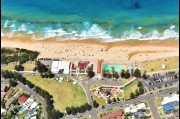 Aerial view of Thirroul ocean pool and beach