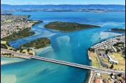 Aerial view of Windang Bridge and Lake Illawarra