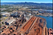 Aerial view the Port Kembla Steel Works