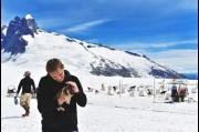 With a Huskey Puppy on the Mendenhall Glacier, Alaska
