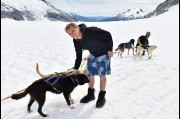 With the Huskey Sled Dogs on the Mendenhall Glacier